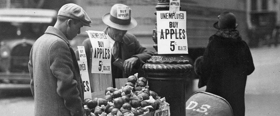 Great Depression Apple Cart Worker